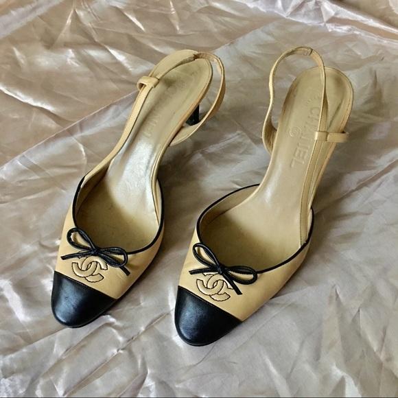 b2e2a8741a8 CHANEL Shoes - Chanel CC Logo Cap Toe Slingback Heels 39